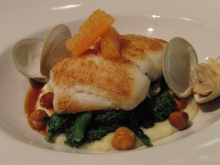 Roasted lemon sole with Pat's littleneck clams, Brussels sprouts, toasted hazelnuts, and parsnip purée