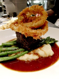 """Braised boneless beef short ribs with Spring-dug parsnip whipped potatoes, broccolini and """"bistro"""" style onion rings"""
