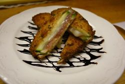 St. Jacob's zucchini (Spain) - Deep-fried zucchini, cured serrano ham & manchego cheese