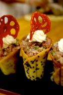 Savory cornets with tuna tartare & avocado mousse