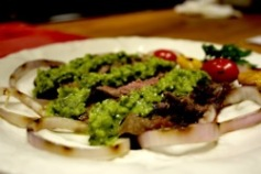 Grilled skirt steak with chimichurri sauce (Argentina) - Gaucho style with chimichurri - a classic thick parsley, garlic & herb sauce