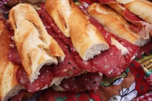 Baguette sandwiches in the many markets around town