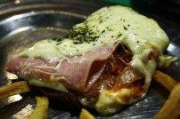 Milanesa with ham and cheese. The Argentine wienerschnitzel