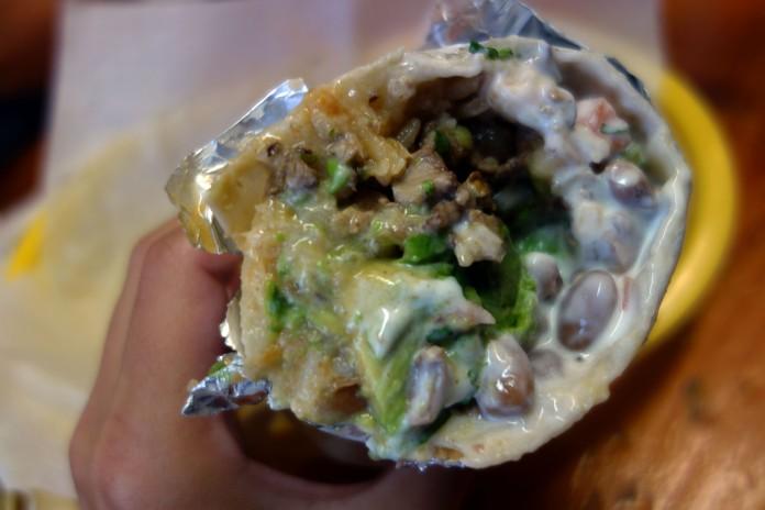 Super Burrito with carne asada at Taqueria Cancun
