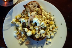 Whipped Bone Marrow on Toast, Capers, Shallot, Popcorn at the Monk´s Head
