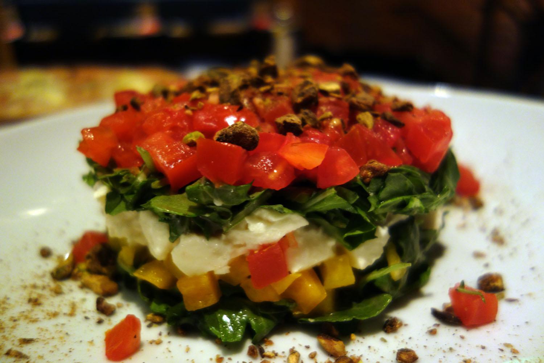 Tomato Mozzarella And Arugula Tower Recipe — Dishmaps