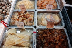 Unrecognizable seafood products at The New World Mall in Flushing, Queens