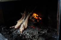 Lamb roasted on metal cross