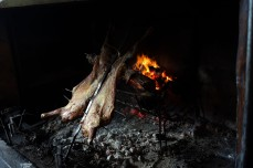 Lamb roasted on metal cross