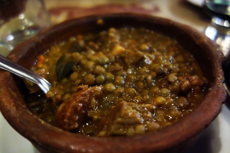 Lentils stew with chorizo in Buenos Aires