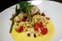 Seared Rockfish with Corn and Bacon Risotto