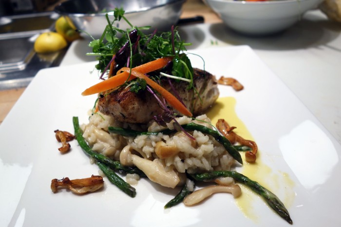 Seared Rockfish with Mushroom and Asparagus Risotto