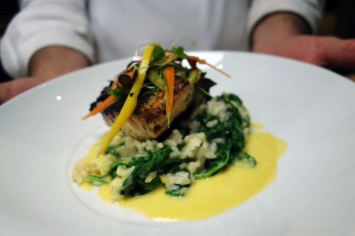 Seared Rockfish with Spinach Risotto