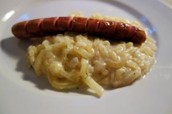 Comfort food - pumpkin stew with grilled wiener