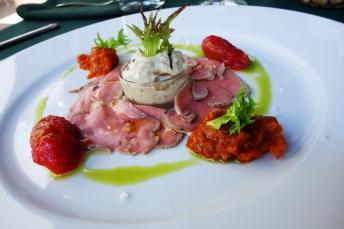 A delicious appetizer at Kistucsok restaurant near the Balaton