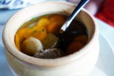 A light stew with chicken liver dumplings