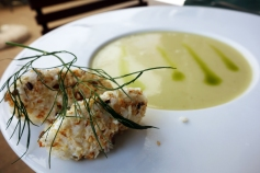 A delicious soup and soft cheese dumpling near the Balaton