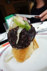 Blood sausage pintxo at Bar Alcanadre in Hondarribia