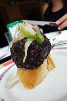 Blood sausage pintxo at Bar Alcanadre in Hondarribia