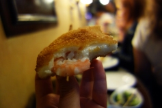 Shrimp croquette pintxos at Gandarrias