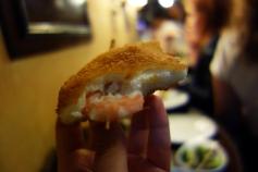 Shrimp croquette pintxos at Gandarrias