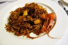 A rossejat de fideos with prawns at El Far in Llafranc
