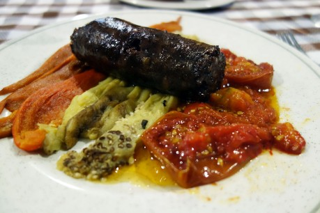 Black sausage and escalivada at La Venta