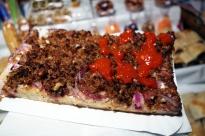 Kemence lángos with fried pork cracklings and onion