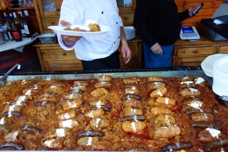 Toltott káposzta. Sauerkraut with ground meat and sausage