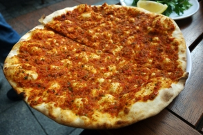 Lahmacun, flatbread with spicy minced meat.