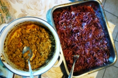 """Another popular breakfast item at pig slaughters is """"velős rántotta,"""" scrambled eggs made with pig's brains. It's served with red cabbage cooked in vinegar with a dash of sugar."""