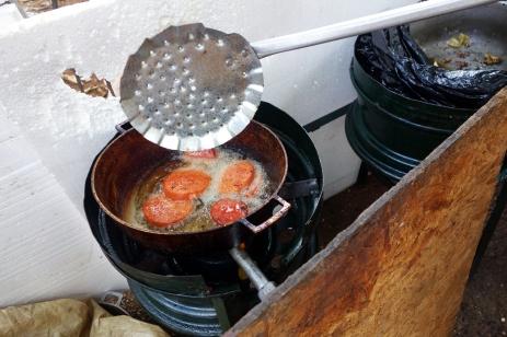Frituras, fried salami for breakfast