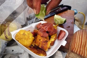 Frituras, fried salami and plantains for breakfast