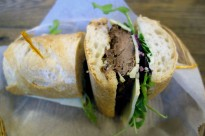 Cash for your Hargo with short rib braised in house, sharp white cheddar cheese, picked red onion, arugula and horseradish aioli on baguette.