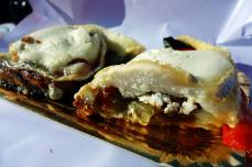 Goat cheese and escalivada coca