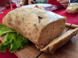 Homemade foie gras prepared in salt