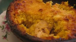 Pastel de choclo with chicken in Pomaire