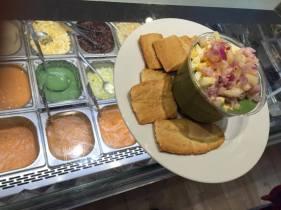 A salmorejo of peas and avocado from Salmoreteca in Mercado Lonja del Barranco