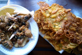 Tortilla de Camarones and Fried Almendritas at Mercado Central de Abastos in Cádiz
