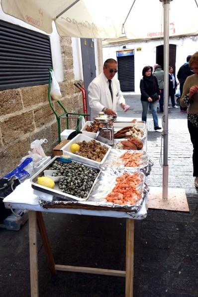 Seafood Stand at Mercado Central de Abastos in Cádiz