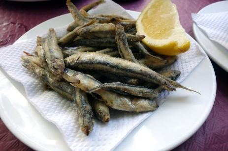 Fried anchovies at La Parisien in Cádiz