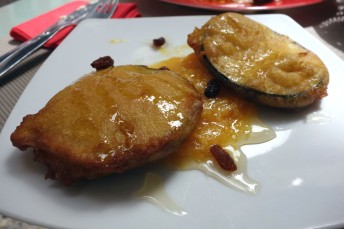 Berenjenas fritas (fried eggplant) with honey and Sevillan orange marmalade in Meson don Ramundo in Sevilla