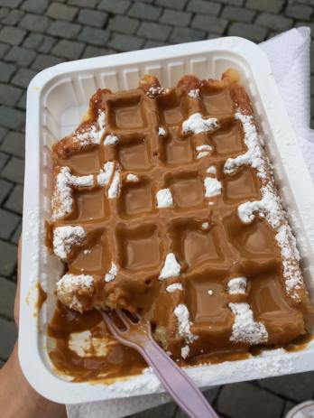Belgian waffle with speculoos in Brussels