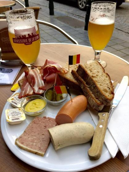 Sausage, pate, bacon and beer in Brussels