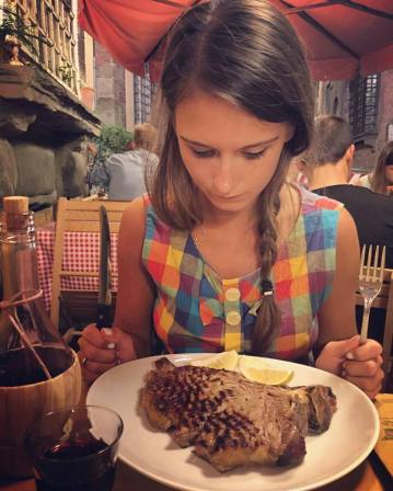 Florentine steak at Da Leo