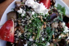 Lentil and couscous salad with eggplant, tomato and goat cheese at La Cagette in Bordeaux