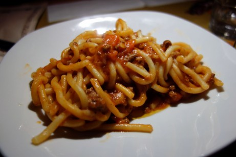 Pici with Meat Sauce at Le Rime in Montepulciano