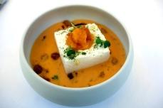 Egg 5 ways in butternut squash soup at Logis de la Cadene