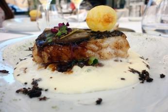 Codfish in fish jus and potato puree at Logis de la Cadene