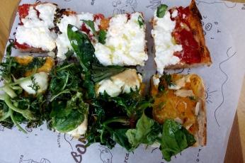 Delicious pizza with pumpkin puree, ricotta and tomato